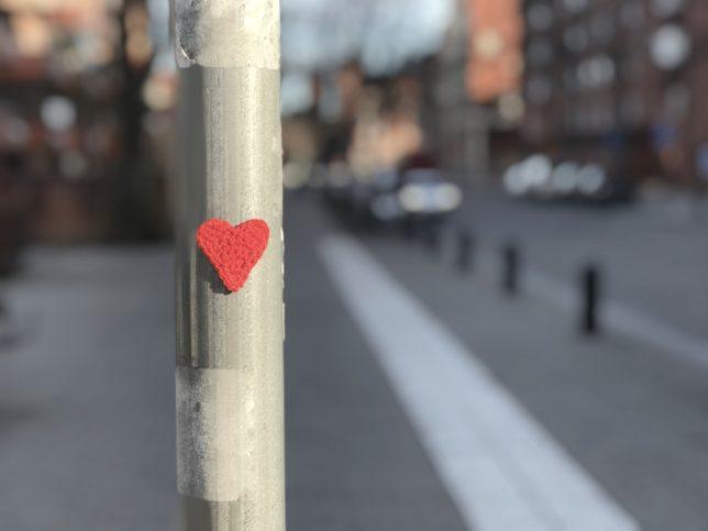 Mönster på virkat hjärta